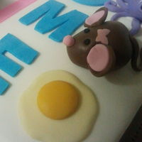 Candy Land Cake Detail of mouse and egg of School Book Alphabet Cake for Teacher's Birthday