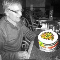 Go Hawks Go! Dads 60th birthday White almond cake Buttercream and fondant
