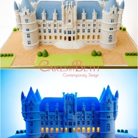 Chateau Challain Wedding Cake Wedding cake created in the shape of Chateau Challain, the venue where the couple were getting married. The cake contained LED lights on...