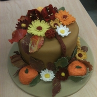 Fall Fest! My final cake for my Wilton Fondant and Gumpaste class.