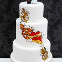 Steampunk Hand Painted Wedding Cake One Of My Favourites Steampunk, hand painted wedding cake. One of my favourites!!