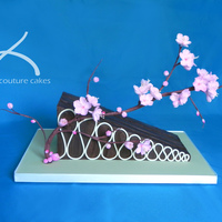 Modern Cherry Blossoms A modern cake design to celebrate Mother's Day. A sculpted wedge shaped cake finished in dark chocolate ganache. Cherry blossoms all...