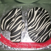 Zebra Print Numbers Covered with fondant, and zebra printed with banner.