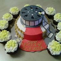 Movie Theme Cake And Popcorn Cupcakes Movie Theme Cake and Popcorn Cupcakes