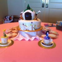 Teapot Cake Disney Fairies tea party cake. All is edible except the fairies, the girls wanted to be able to play with them.