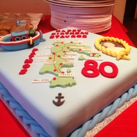 80Th Birthday - Greek Island Map This cake was for my father's 80th birthday..... Many years ago he lived and worked as a fisherman on the Greek island of Patmos. He...