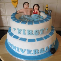 Anniversary Hot Tub Made this 1st Anniversary Cake for my son and his wife who love a bit of luxury. I included their beloved cat who is an important part of...