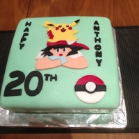 Pokemon Surprised my son with this cake for his 20th!!!....... He was a Pokemon fan growing up..... and secretly he still is :)