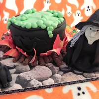 Bubble, Bubble, Toil & Trouble Happy Halloween! All accents, including witch and cat are entirely fondant and entirely edible. Thanks for looking!