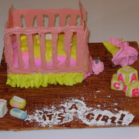 The Crib Mattress Is Chocolate Cake Frosted And Filled With Cream Cheese Buttercream The Cake Is Covered Mmf The Crib Rails Are Pink Cand The crib mattress is chocolate cake frosted and filled with cream cheese buttercream. The cake is covered MMF. The crib rails are pink...