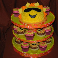 Sunny Cupcake Tower With 6 Inch Sun Cake And 2 Dozen Cupcakes This Makes Me Feel Happy Descriptions In Close Up Photos Thanks For Looking Sunny Cupcake Tower with 6 inch sun cake and 2 dozen cupcakes. This makes me feel happy! Descriptions in close up photos. Thanks for...