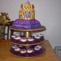 Purple Princess Pillow Cake The ensemble :) I made the cupcake tower too! :)
