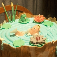 Gluten Free Pond Cake Top tier of a pond-themed birthday cake that I made for my friends 18th birthday! It doesn't look that great, but its a gluten free...