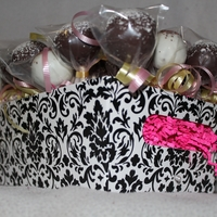 Pink And Black Cake pop arrangement, 32 cake pops!
