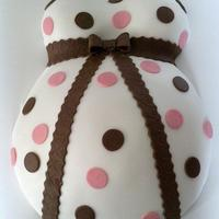 Pregnant Belly Cake   LEMON CAKE COVERED IN WHITE, PINK AND CHOCOLATE FONDANT