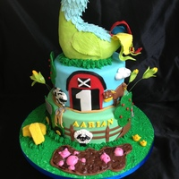 "Eieio Cake Old MacDonald had a farm EIEIO... 10 & 8 "" cakes. All decorations made out of fondant. Topper inspired by Across the Branch and..."
