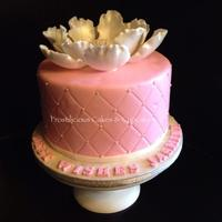 "Blooming Love 8"" vanilla cake covered with fondant and gumpaste flower for a lovely bride-to-be."