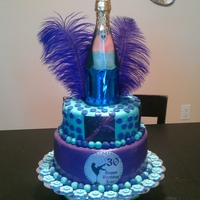 30Th Birthday Cake Purple Teal Fondant chocolate Cake