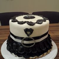 Engagement Cake engagement Cake black and white petals