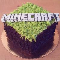 "Minecraft a delicious chunk of dirt you'll want to eat!""Minecraft"" made out of fondant, vanilla buttercream for grass and coco puffs..."