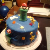 My Godson/nephew's Birthday/ Mario's World. I had such a hard time trying to find a Mario cake pan even e-bay had 'em so expensive couldn't find anywhere so that's when...