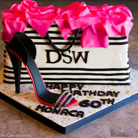 60Th Birthday Cake/dsw Shopping Bag With Gum-Paste High Heel Shoe 60th Birthday Cake/DSW Shopping Bag with Gum-paste High Heel ShoeBlack, Pink & White ThemeVanilla Cake w/ American Butter-cream Icing