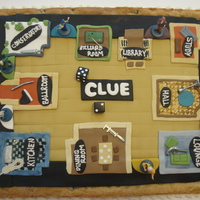 "Giant Cookie With Fondant Clue Game Board On Top Giant cookie with fondant ""Clue"" game board on top!"