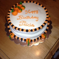 Pumpkin Birthday Cake Pumpkins made out of fondant. Key lime cake with key lime cream cheese frosting.