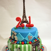 Paris Themed Birthday Cake  This cake was made for a girl who traveled to Paris and her boyfriend showed up and proposed to her on the lover's bridge. All hand...