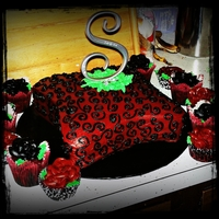 Black And Red Cake And Cupcakes This was made by a friend and i for a wedding. the theme is red and black