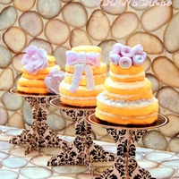 Bridal Shower Cookies Inspired By Lavender, Peach, And Honey Palette Sugar cookies covered with fondant, stacked to wedding cake shape, decorated with fondant accents