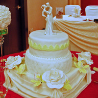 Wedding Cake With Roses And Orchids. Quilting Design. Fondant Lace And Swags.
