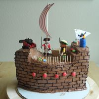 Big Pirate And Vikings Chocolate Buttercreme Ship Cake