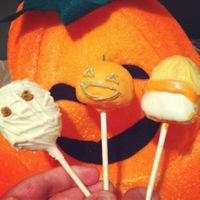 Mummy Pumpkin And A Candy Corn Cake Pop Mummy, pumpkin, and a candy corn cake pop!