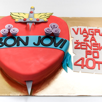 Bon Jovi Fondant Cake A cake for my female friend turning 40. Bon Jovi is just like a viagra for female after 40.