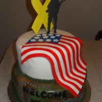 Welcome Home Cake This cake was made for a friends husband who was returning home from Iraq after a year long deployment.