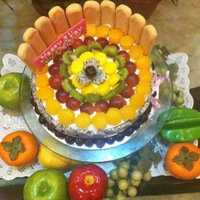 Fresh Fruit Cake Vanilla Cake layered with fresh fruits mixed in rich cream and topped with more fresh fruits..