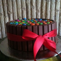 Rich Chocolate Cake Covered With Mampm And Kitkat Rich chocolate cake covered with M&M and kitkat