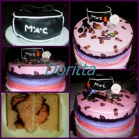 This Cake Was Covered With Leopard Design Make With Pink Icing And Fondant The Cosmetics Bag Was Made With Rkt And Covered With Black Fonda... this cake was covered with leopard design make with pink icing and fondant, the cosmetics bag was made with RKT and covered with black...