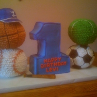 First Birthday Sports Cake Made good use of the Wilton ball pan