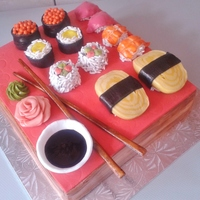 Sushi Cake I made for a special lady who loves Sushi.It was a challenge to make as close as possible to the real sushi.I enjoyed making it