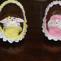 Sleeping Baby Bunnies Bassinet is made from chocolate egg, bunnies and bedding made from fondant
