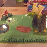 Golf Course Birthday Golf course cake complete with brown sugar sand pit, ice cream cone pine trees, hard tack candy pond and flowering bushes.