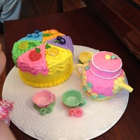 Just Like My Granddaughters Favortite Tea Time Toys But These Are Edible The Cale Tea Pot Are Lemon Cales With Buttercream Icing And Fon Just like my granddaughter's favortite tea time toys, but these are edible. The cale, tea pot are lemon cales with buttercream icing...