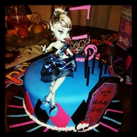 Monster High  I had about a day and a half notice for this cake. Checkerboard cake inside. Covered in MMF. MMF decorations including the skull logo. The...