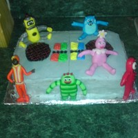 Yo Gabba Gabba Theme Birthday Cake Yo Gabba Gabba . Each character is made from mmf on a whimsical boom box. Very fun cake to make.