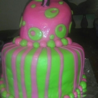 Topsy Turvy Pink and green fondant decoration! Chocolate and vanilla marbled cake. First time trying this style cake and it was fun making it! I think...