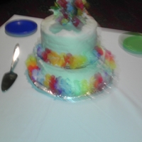 Rainbow Surprise Birthday Cake   White Fondant on the outside, rainbow layers on the inside