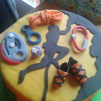 Climbing Cake   Chocolate cake with climbing accesories in fondant
