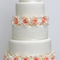 Wedding Cakes Ivory and peach 5 tier wedding cake